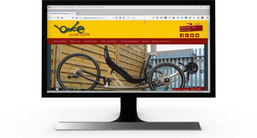Die Website von Bike-Revolution nach dem Relaunch